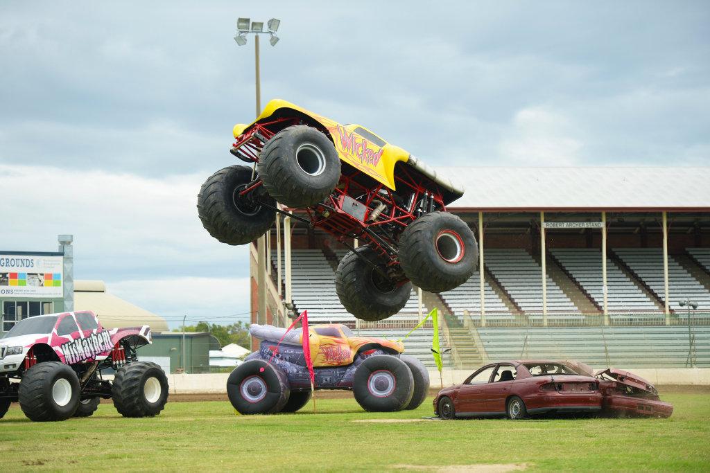 "Monster truck \""Wicked\"" giving a demonstration at Rockhampton Showgrounds.Photo Allan Reinikka / The Morning Bulletin"
