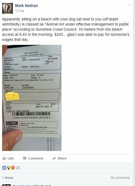 UNHAPPY: Mark Nathan posted a copy of the fine he received at Marcoola to a local social media page.