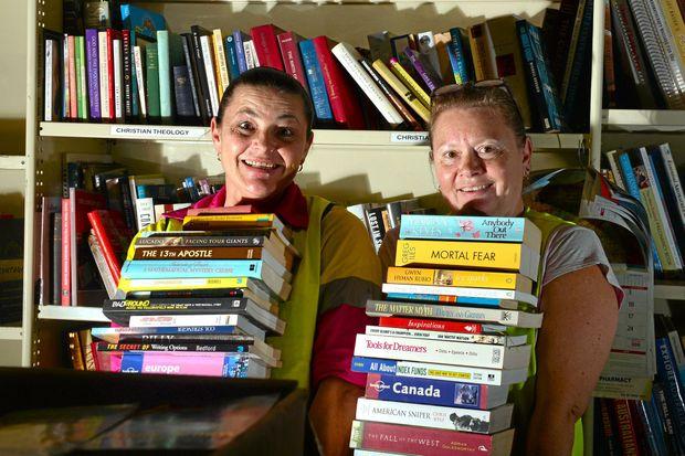 Corinna Beckhause and Liz Makin are ready for Lifeline's annual bookfest.   Photo: John McCutcheon / Sunshine Coast Daily