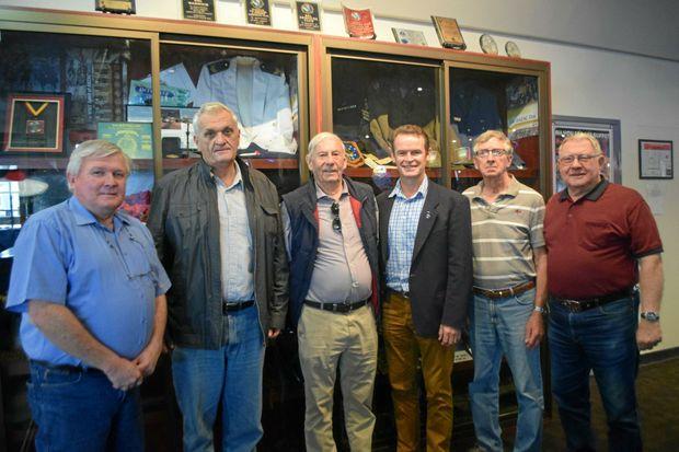 SERVICE: Local Legacy members Glyn Rees, Jim Domjahn, Ian Campbell-Wlison, Brisbane Legacy CEO Brendan Cox, Roy Egginton and Gordon Nielsen.