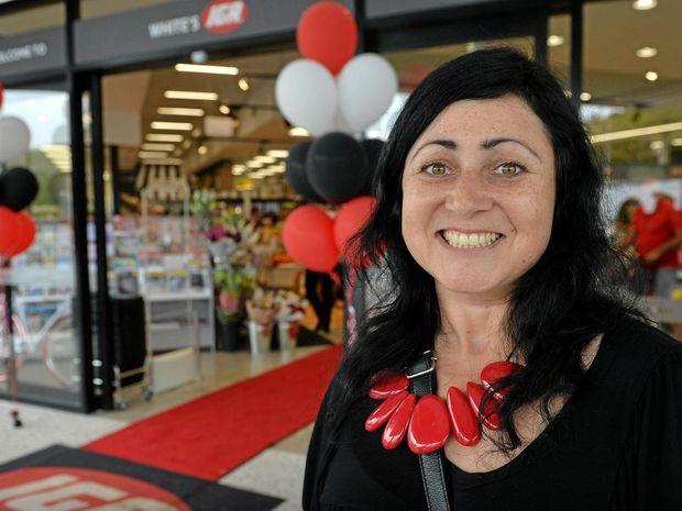 STOKED: Nicky Fernandez already loves her new local supermarket, White's IGA at Peregian Beach.