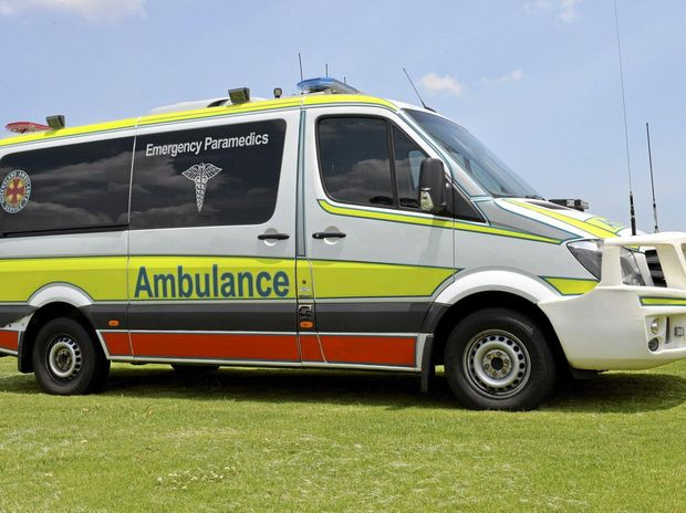 Queensland Ambulance Service transported a male in his 60s to hospital this morning after a crash between a motorbike and a car