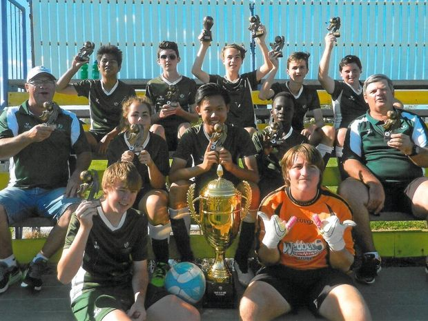 The winning Frenchville team (back row, from left) John Nator, Kody Robinson, Jacob Wright, Reece Humphries, Caleb Jarvis; (middle row, from left) manager Adrian Moessinger, Trinnity McKeiver, Tim Nguyen, Simbareshe Mugebe, coach Mark Muldoon; (front row, from left) Lachlan Paton and Brayden Offord.