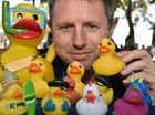 The 2016 Great Fraser Coast Duck Race - Andrew Edwards with head duck Harry and some of his friends.