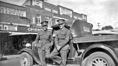 Soldiers John Selwyn Slack and Allan Ashsford Slack on a day trip to Nambour from the Obi Obi Valley, ca 1941.