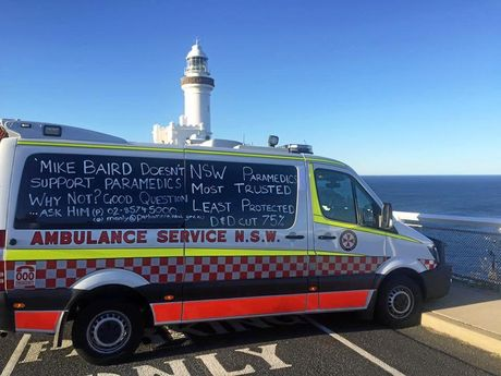 Local paramedics are taking part in the Health Service's Union liquid chalk campaign with this ambulance parked in front of the Byron Bay lighthouse.
