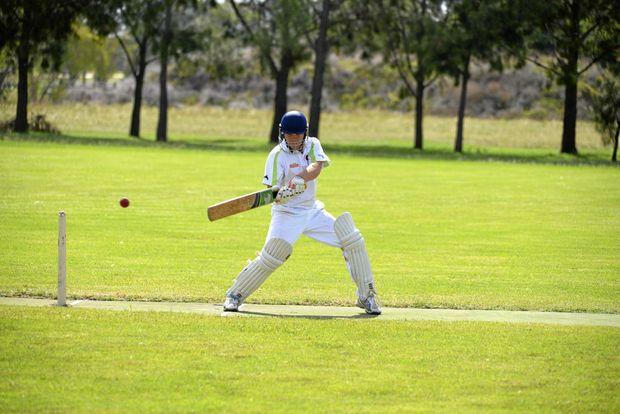 Aaron Vietheer cuts to third man during an innings in Warwick cricket.
