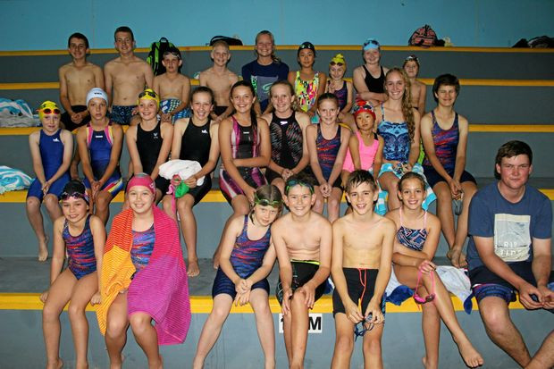 Warwick Swimming Club members after a Friday night swim early this year.