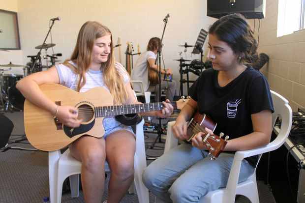 LOVE OF MUSIC: Mackay performers Jessikah Baillie and Jade Fiyen are training up at MusoAcademy.