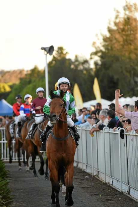 Larry Cassidy rides Collaboration to victory at the Lismore Cup in Lismore.  Photo Marc Stapelberg / The Northern Star