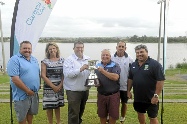 TEEING OFF: Mat Worthing, Elizabeth Fairweather, Richie Williamson, David Morgan, Greg Harvison and Matt McKee with the Kel Nagle Cup trophy.