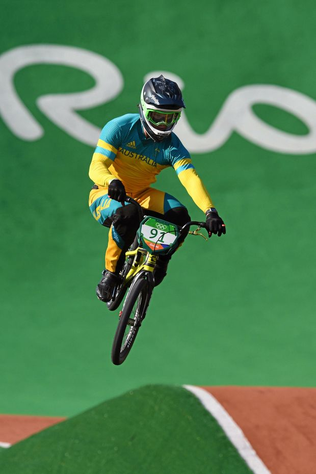 Australia's Sam Willoughby in action during the seedings run for the Men's BMX at the Olympic BMX Centre during the Rio 2016 Olympic Games in Rio de Janeiro, Brazil, Wednesday, Aug. 17, 2016. Willoughby ranked 3rd fastest after the seedings run. (AAP Image/Dean Lewins) NO ARCHIVING, EDITORIAL USE ONLY