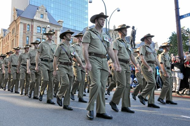 Armed forces are seen during the Anzac Day march on the commemoration of the centenary of Anzac on Anzac Day in Perth Western Australia, Saturday, April 25, 2015.(AAP Image/Rebecca Le May) NO ARCHIVING