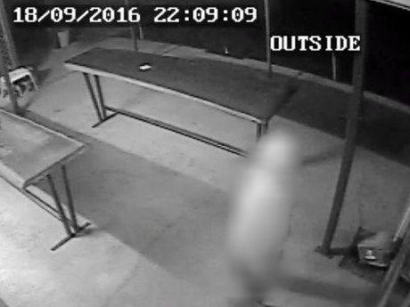 CAUGHT: A man caught on CCTV at Mt Larcom Bowls Club.