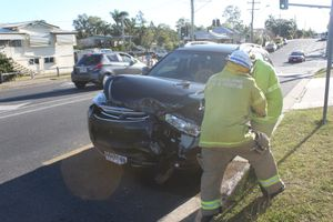 The car crash on the corner of Elphinstone and Dean Streets in Berserker,