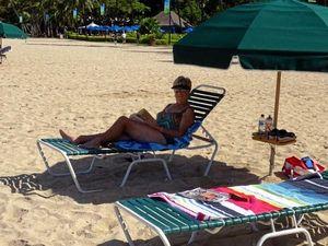 Relaxing on a Hawaii beach.