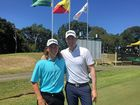 MUTUAL RESPECT: Yeppoon golfers and the final two standing, Jake McLeod and Adam Blyth, after the thrilling third playoff round.