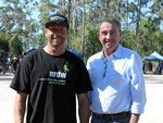 GREAT NEWS: David Hegerty, president Northern Rivers Dirty Wheels Mountain Bike Club, with Page MP Kevin Hogan.