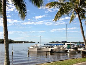 EVERYTHING'S EASY HERE: Boats at rest on the Noosa River, Noosaville.