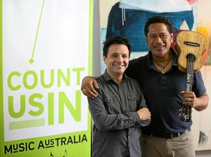 John Foreman and Jay Laga'aia at a songwriting workshop earlier this year.
