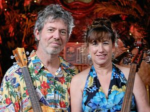 Ukulele player A. J. Leonard and cellist Jenny Rowling.