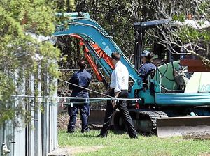 SEARCH: Police excavate a section behind the foster home of the Queensland schoolgirl  at Chambers Flat. (Below) Tiahleigh Palmer, 12.