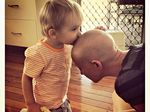 Chester kisses his mum Tarah Hastie's head during her treatment for breast cancer in 2012.