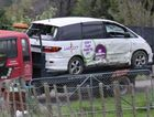 The crashed rental vehicle a 29-year-old American visitor was found dead in on Shooting Butts Rd, rural Martinborough.