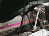 Train smashed into platform, bringing down part of the roof.