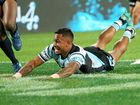 Ben Barba scores the Sharks' first try during the NRL grand final against the Storm at ANZ Stadium.