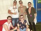 SCU student Harry Jowsey (front left), Australia's Best Air DJ as crowned last week by Triple J, with friends enjoying his VIP experience at Listen Out Festival.