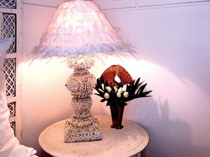 Bespoke lamp base by Jodie Webster, lamp shade by Tracey Hordern.