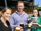 CHEERS: Chantal Gordon, Chris Schmidt and Sharyn Lowery prepare for the beer festival.