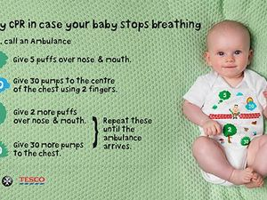 The infant onesie teaching parents baby CPR