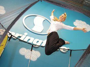 Springfree Trampoline communications co-ordinator Erin Walker enjoys the trampoline.