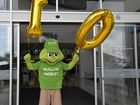 Noosa Civic mascot and Noosa native Wallum the Froglet joined in the 10th birthday celebrations at the centre on Wednesday