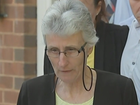 Mother of murdered school teacher speaks outside court.