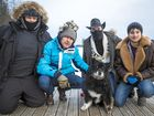 Mark Jeffreys (blue jacket) with cameraman Mike Mowbray, co-director Isaac Allen and sound man and co-presenter Jimmy Gore with the star of the movie, Osa the Finnish Lapphund.
