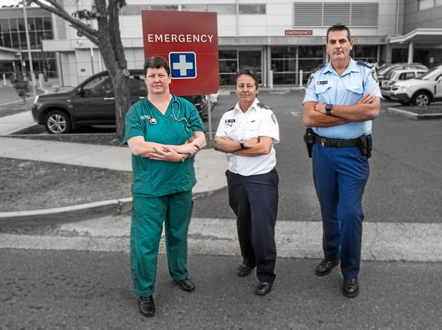 RESILIANT: Emergency medicine specialist Dr Cathy Constantine, Coffs Harbour Ambulance station officer Jancinta Young and Sgt Jarrod Langan are on the front line in responding to road fatalities.