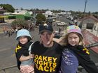 Nathan Scott with daughters Leigha (left) and Haylee Scott at the Oakey Fights Back rally to highlight the positive aspects of the town in the face of the ongoing groundwater contamination issue.