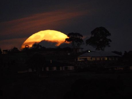 Chris Gilchrist's photo of the supermoon as seen from Warwick.