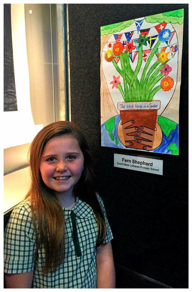 LITTLE ARTIST: Good News Lutheran School student Fern Shepherd will have her artworks shown this weekend.