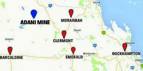 Map of Adani in relation to Central Queensland townships.