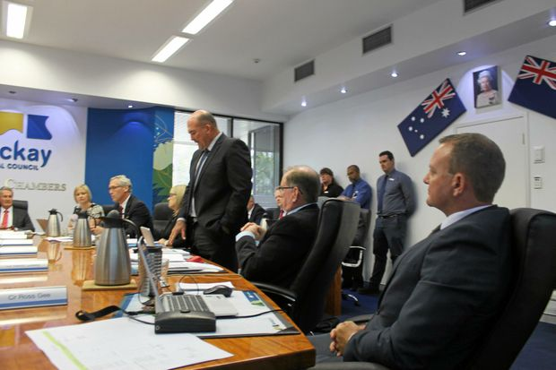 Cr Martin Bella speaking against the removal of fluoride from Mackay's water at Wednesday's ordinary council meeting.