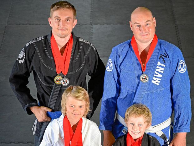 Craig Evans, Dom Bognai and youngsters Cooper Heart , 12, and Kaiden Hoad, 7, with their medals won the weekend.