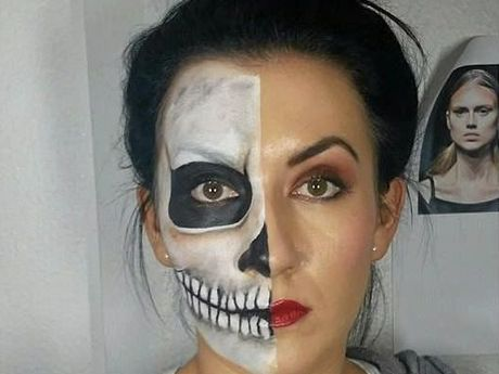 Emily Bird shows off a glam skull look.