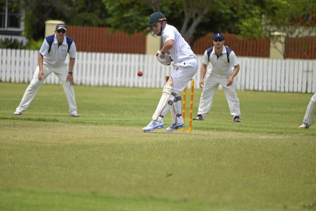 Nick Morris in action for Allora in Warwick cricket.