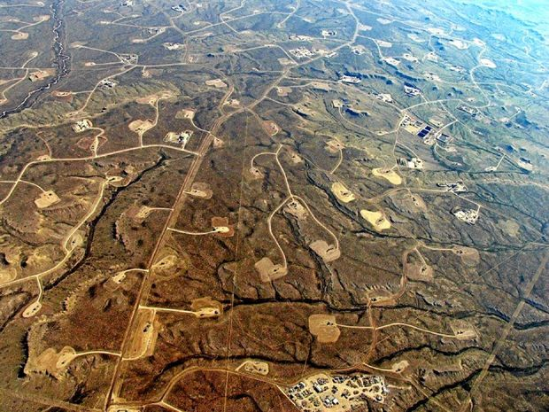 Images like this shale gasfield in Green River Basin, Wyoming, in the United States, is what the Labor Government will be trying to ensure does not happen in the NT through conducting its inquiry into fracking.
