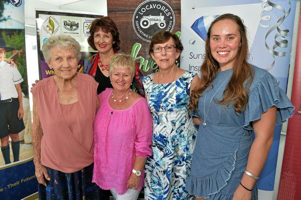 Launching the Sunshine Coast Inspiring Women Awards are winner from last year Bertha Jansen, Susan Stanley, Bernice Pembleton and Bridgette Seymour with Fiona Simpson (rear).