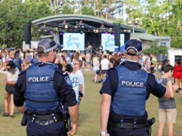Police patrol The Grass is Greener music festival at Mackay Regional Botanic Gardens.